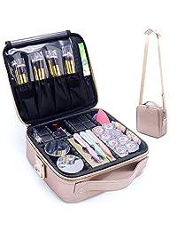 TRAVEL 旅行箱化妆化妆包记事本便携艺术家储物袋7.62cm 带可自由调节隔板适用于化妆品化妆刷 toiletry