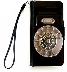 Rikki Knight PU 皮革钱包式翻盖手机壳带磁性翻盖/腕带适用于 iPhone 5C - 带鱼饵的斜角盒 - RK-Flip5Ciphone300397-PRK-Flip5Ciphone300336 Retro Rotary Telephone