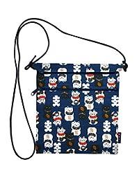 和布日和 黑白日本图案 招财猫 二段 带拉链 防水袋 藏青色 112124