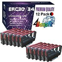 (12 包,黑红色)4Benefit 兼容 POS 丝带 Epson ERC 30 ERC34 ERC38 丝带 ERC30br 用于爱普生 KN506 TM 200 TMU 220 TMU230 打印机