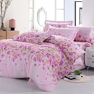 家纺 鹅峰 活性澳绒棉套件田园公主床上用品婚庆四件套双人清仓 1.5m(5英尺)床 满天星 粉色