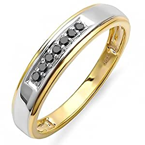 0.12 Carat (ctw) 18K Yellow Gold Plated Sterling Silver Round Black Diamond Men's Seven Stone Wedding Band (Size 10.5)