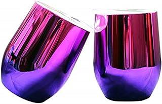 Lonovel 18/8 不锈钢户外旅行酒杯,12 盎司真空双层绝缘酒杯,带盖子,适用于咖啡、香槟、鸡尾酒、饮料,不含 BPA,2 件套,极光渐变粉红色和紫色
