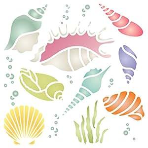贝壳模板 - 可重复使用的海洋海洋海洋海岸礁墙模板 - 用于纸质项目剪贴簿子弹日志墙地板织物家具玻璃木等。 M
