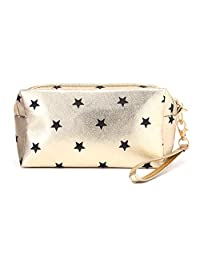 HOYOFO 女士化妆包手拿包 手包 旅行化妆包 适合女士 女孩 便携 必需品 储物手提包(金色)