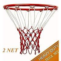 Springen 重型优质专业篮球网替换件 - 全天候重型厚网防鞭,适用于标准室内或室外边缘 12 圈圈圈圈(2 件装,红色和白色)