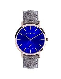 Rossling & Co.  石英男女适用手表 Modern 36mm - Aberdeen 蓝色表盘金色表壳(亚马逊进口直采,加拿大品牌)