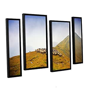 """ArtWall 4 Piece """"Dragos Dumitrascu's Far in The Distance"""" Floater Framed Canvas Artwork, 36"""" x 54"""""""