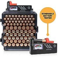 电池收纳盒带电池测试仪 - Volt Vault 83 插槽 AA/AAA 电池支架和分配器,壁挂式电池盒