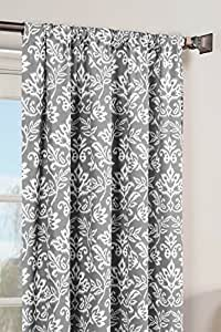 Window Elements Victoria Printed Cotton Extra Wide Rod Pocket Curtain Panel Pair 灰色