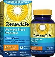 Renew Life 成人益生元——適合男性女性的終極植物群額外護理補充劑——貨架穩定,無麩質,乳制品和大豆——500億CFU——90粒素食膠囊
