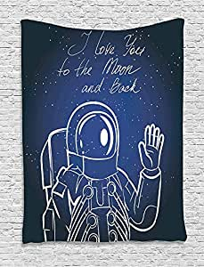 Outer Space Decor Tapestry by Ambesonne, I Love You Moon and Back Quote with Cosmonaut Waving in front of Star , Wall Hanging for Bedroom Living Room Dorm, 40WX60L Inches, Grey Blue