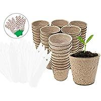入门园艺种子种植花盆套件 / 室内和室外可生物降解花盆 / 开始种子和苗种植花盆带标签和手套/ 60 包花盆和标签