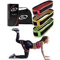 织物阻力带套装 - 腿部、肩部和手臂锻炼的靴状臀带 - 完美适合健身、胶水和小球锻炼 - 3 个非滚动厚圆带 男女通用 - GlFT