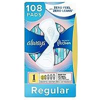 Always Infinity 女性护垫,尺寸1,108片,常规吸收性,带护翼,无气味(36片,3盒-共108片)