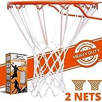 BETTERLINE 2 件装重型篮球网 | 优质全天候厚网 | 2 个白色篮球网 – 适用于室内和室外的 12 环形篮筐