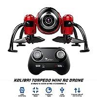 Kolibri Torpedo 迷你 RC 无人机,适合儿童和初学者,带 480P Wi-Fi 摄像机实时视频馈送,2.4GHz 6 轴陀螺仪 4 通道 FPV 应用控制四轴飞行器,带无头模式。