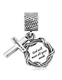 "CharmSStory Bible ""God Will Meet All Your Needs""Christian Cross Charm Bead For Bracelets  God Will Meet All Your Needs"