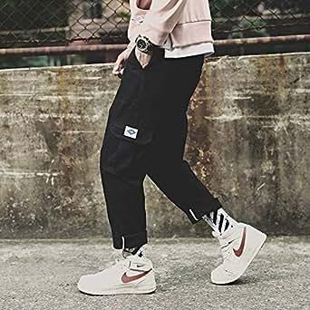 秋冬季新款日系潮牌男士加绒工装裤韩版宽松休闲束脚学生嘻哈裤子白标黑色 5XL