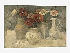 iCanvasART WAC46 Poppies in White Canvas Print by Albena Hristova, 12 by 8-Inch, 0.75-Inch Deep