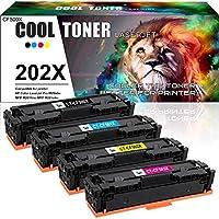 Cool Toner 兼容硒鼓替换件适用于 HP 202X 202A CF500A CF500X 适用于 HP Laserjet Pro MFP M281fdw M254dw M281cdw M254dn M254nw M281fdn M280nw 打印机(黑色青黄色洋红色)
