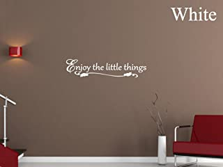 Vinyl Say G.White -44x10-1259.Enjoy The Little Things 墙贴,111.76 cm x 25.40 cm,亮白色
