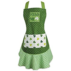 DII 100% Cotton, St. Patricks Day Kiss Me Ruffle Embroidered Kitchen Apron With Adjustable Neck & Waist Ties, Cute Chef Apron Is Machine Washable With Front Pockets, Perfect for Cooking, Baking, & Hosting