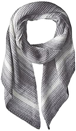 Calvin Klein Women's Marled Angled Edge Scarf, Heathered Mid Grey, One Size