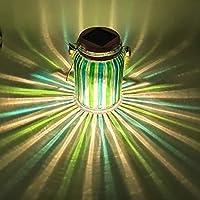 Sogrand 太阳能灯罐子灯户外台灯梅森罐*条纹悬挂树灯玻璃球明亮高 20 流明 LED 桌面灯笼装饰灯适用于庭院花园派对的礼品