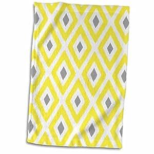 3D 玫瑰黄色和灰色 Ikat 钻石图案 TWL_203398_1 毛巾,38.10 x 55.88 厘米,多色