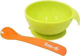Koo-di 硅胶碗和勺套装(绿黄色/橙色)