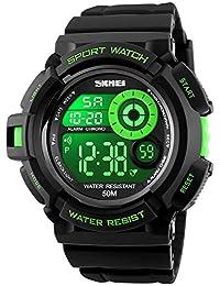 Fanmis Military 男士运动手表 多功能数字闹钟防水黑色橡胶表带手表