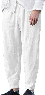 Runcati 男式亚麻裤沙滩休闲宽松松紧腰抽绳夏季短款宽松锥形裤带口袋