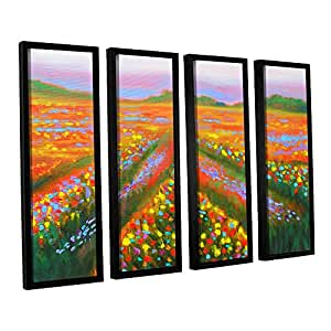 ArtWall Susi Franco's Floral Landscape 4 Piece Floater Framed Canvas Set, 36 by 48""