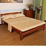 【支持定制】 MERRY GARDEN 美丽家园 双人床 实木 大床 单人床 板式床 儿童床 环保无甲醛 加拿大进口杉木 (2000*1000*400MM, 柚木色)