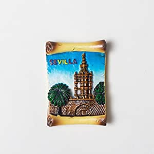 Dasunstyle Hade Made Madrid France Sevilla Spain Normandy Invasion The South of France Arles 纪念 可爱礼物 Building 3d 树脂冰箱磁贴字母(1 套) 绿色 L3inches*H0.5inches*W3inches MDC081