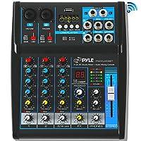 Pyle 专业音频混音器声板控制台系统接口 4 声道数字 USB 蓝牙 MP3 计算机输入 48V 幻像电源立体声 DJ Studio 流 FX 16 位 DSP 处理器 - (PMXU43BT)