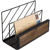 MyGift 2 槽现代黑色金属线和烧焦木桌面邮件分拣架,杂志架收纳袋