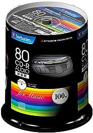 三菱化学媒体 Verbatim 音乐用CD-R 80分钟 1次录音用 48倍速MUR80FP100SV1 主轴箱 100枚