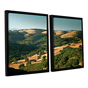 ArtWall 2 Piece Steve Ainsworth's Hills of California Floater Framed Canvas Set, 24 x 36""