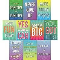 励志与成长思想海报,适用于课堂和办公室装饰 | 励志名言墙艺术,适合教师、学生、学校、校友、家庭和办公室 | 10 件套彩色和创意设计