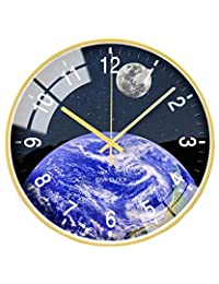 ANVEC 客厅大地挂钟,12 英寸(约 30.5 厘米)独特现代风格装饰静音挂钟带玫瑰金边框,男女皆宜 Earth Clock B