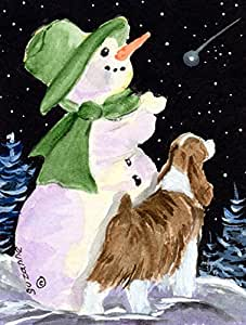 Snowman with English Springer Spaniel Flag 多色 大