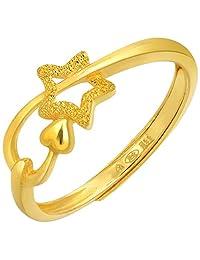 周生生 足金闪砂星星戒指开口圈号2.3克(包含工费70元) 计价11661r(亚马逊自营商品, 由供应商配送)