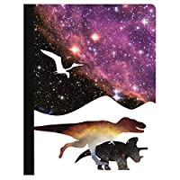 """Tree-Free Greetings Beautiful Composition Notebook 覆盖 多种颜色 Silhouette Dinos in Space 9.75 x 7.25"""""""