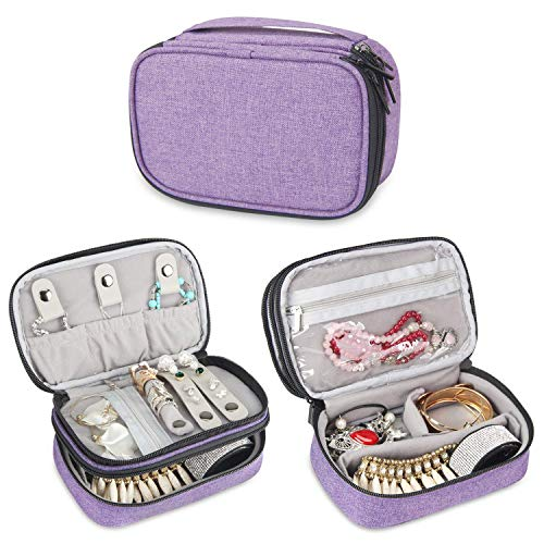 Teamoyジュエリートラベルバッグ、ネックレス、イヤリング、指輪、時計などの宝石類とアクセサリークリップ収納バッグ。