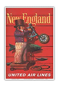 "Pacifica Island Art New England - United Air Lines - Stan Galli 创作复古航空旅行海报 1955 - 艺术版画 13"" x 19"" PRTC3049"