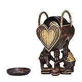 AeraVida 大象一对,配有一个心形 6 件套杯垫厨房装饰