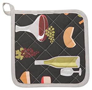 Kitchen Style by Now Designs Potholders, Wine and Cheese, Set of 2