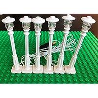 砖白色灯柱 LED 路灯适用于 LEGO USB 连接 6 柱